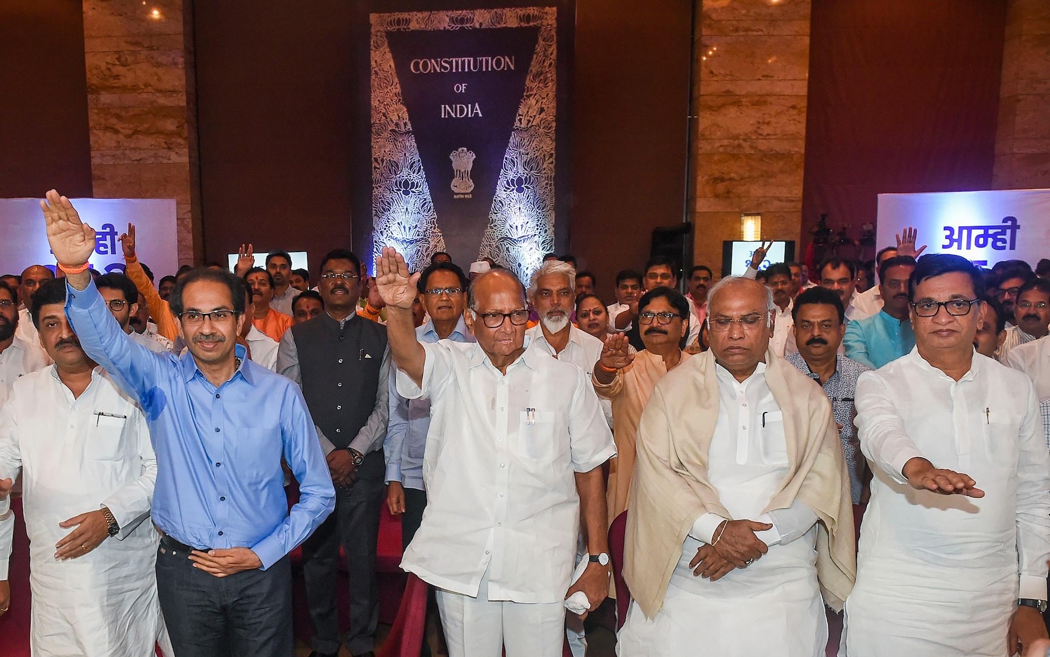 NCP-Shiv Sena-Congress MLAs show their strength
