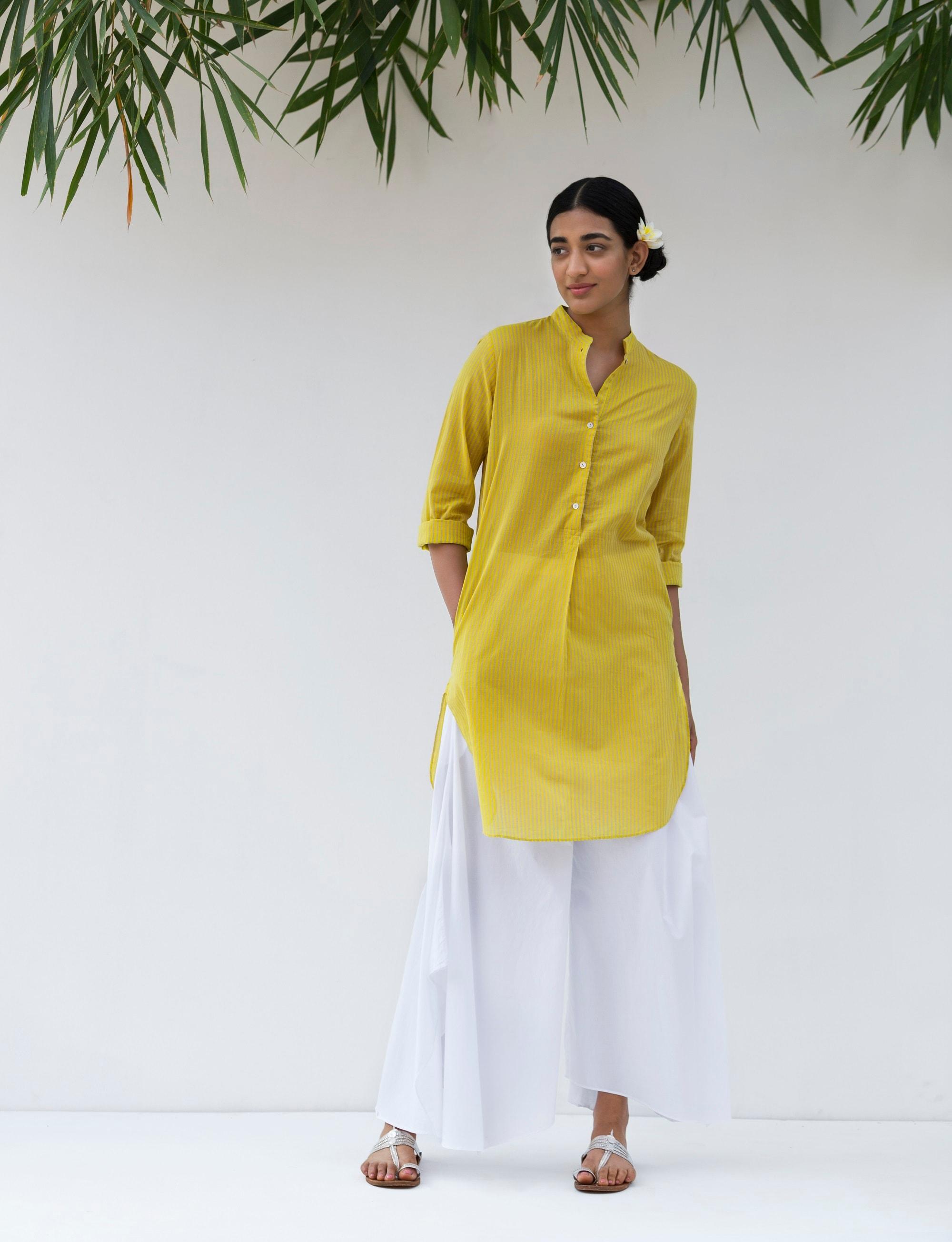 Nicobar - Basic Mid-Length Kurta - Yellow