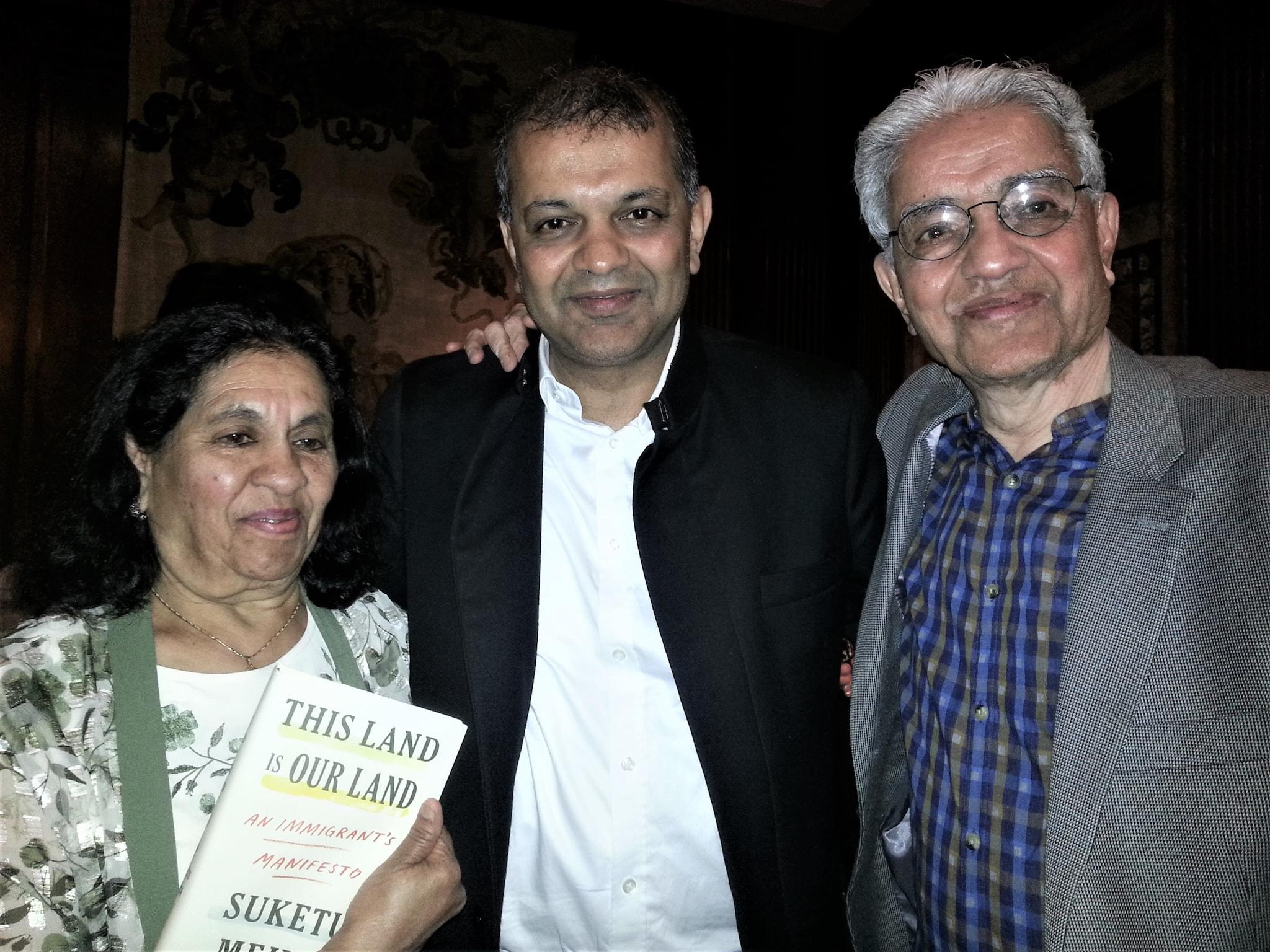 Suketu Mehta with his parents Usha and Ramesh Mehta - Photo credit Lavina Melwani