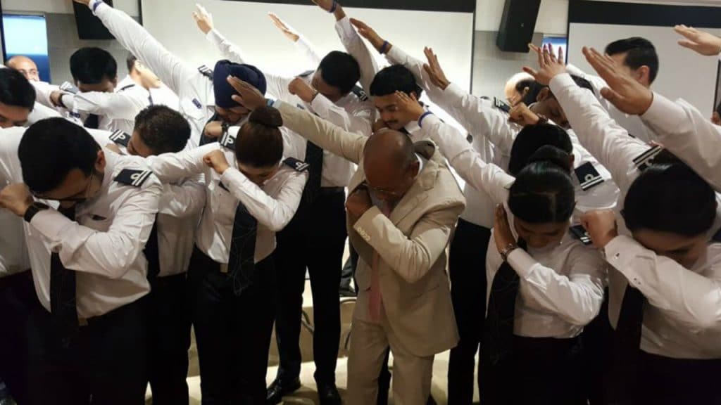 Ghosh does the dab challenge with graduating pilots of IndiGo.
