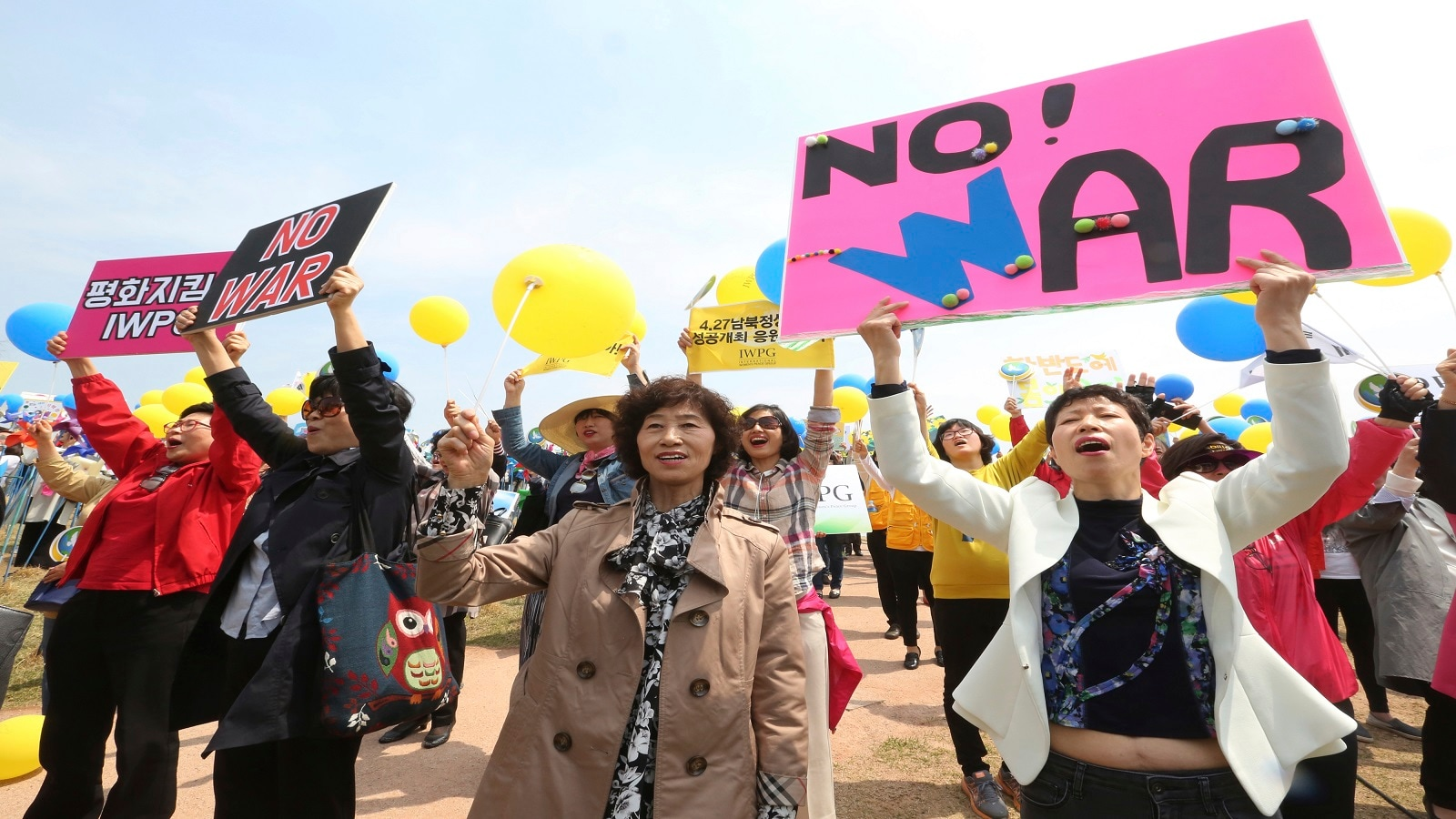 The historical summit has also given rise for anti-war feelings across the region. Thousands had gathered at various parts across South Korea praying for the success of the meet and for the end of hostility in the region. (AP Photo/Ahn Young-joon)