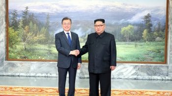 North and South Korea's leaders meet inside demilitarised zone