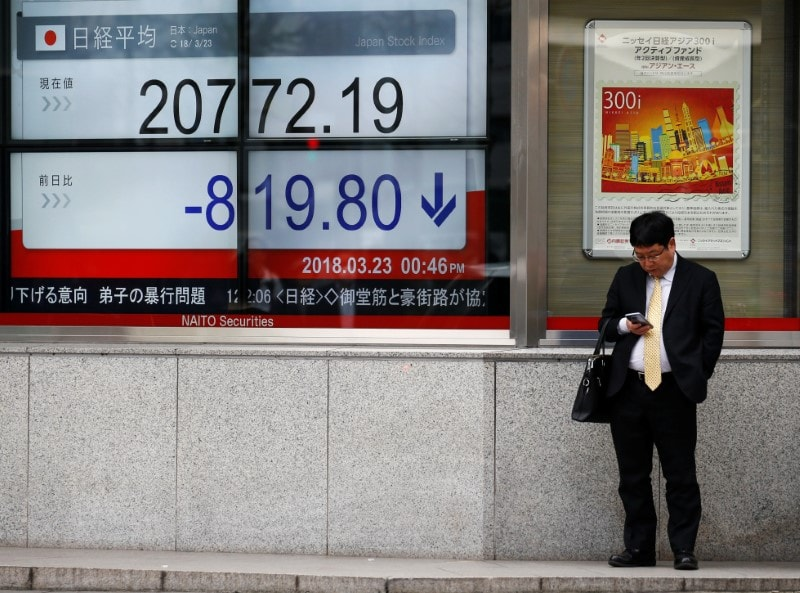 1. Asia: MSCI's broadest index of Asia-Pacific shares outside Japan eased 0.2 percent, while Japan's Nikkei average edged up 0.3 percent to 22,264.81 points. (Image: Reuters)