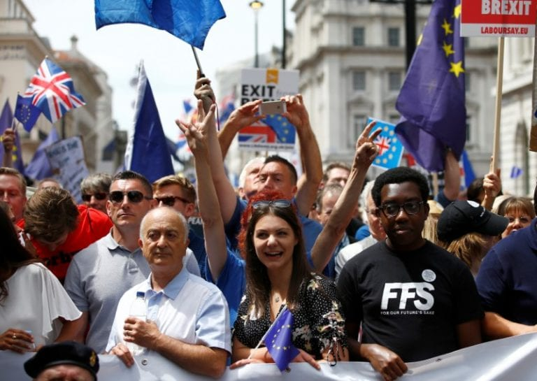 EU supporters march in London to call for Brexit deal referendum