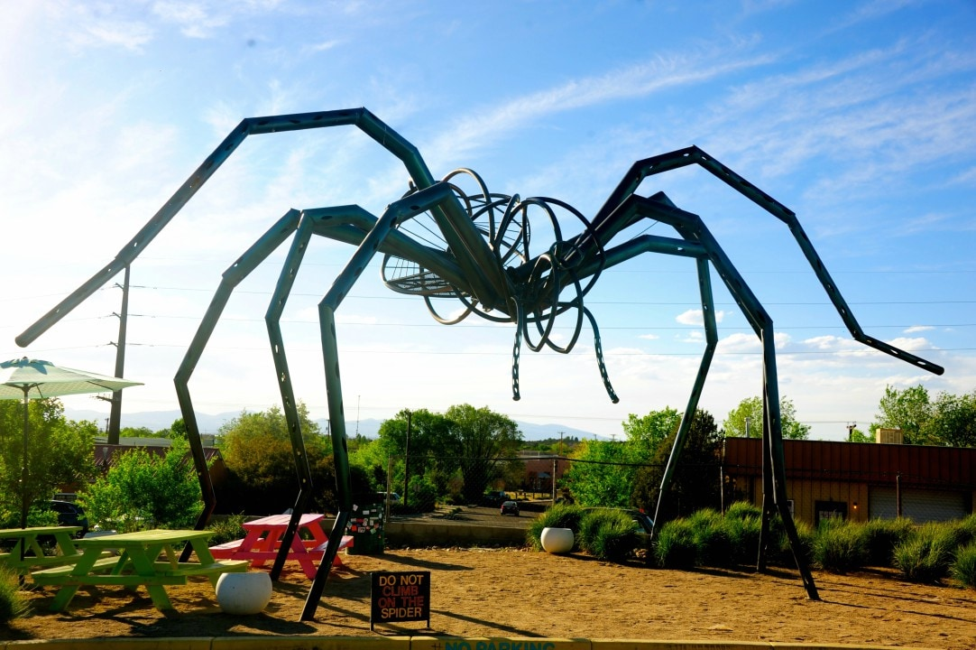 Giant Tarantula: Her name is TaranTula. She stands 30-feet tall in the parking lot of Meow Wolf. Created by Christina Sporrong, the sculpture is part of the outdoor sculpture that includes a humanoid robot and a green-eyed coyote.