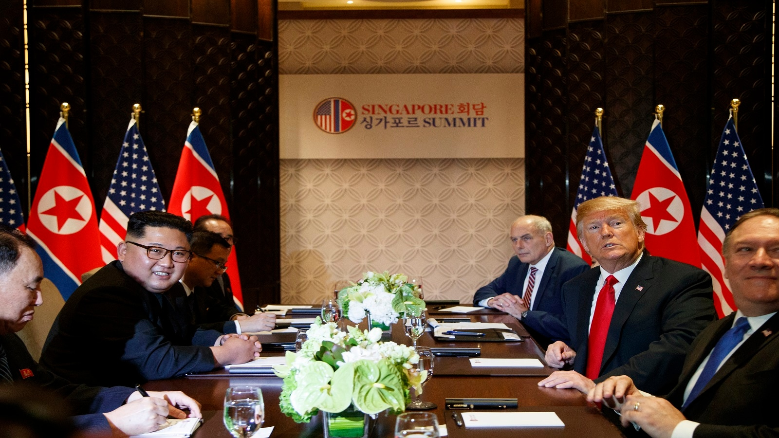 Trump meets with Kim Jong Un on Sentosa Island, Tuesday, June 12, 2018, in Singapore. (AP Photo/Evan Vucci)