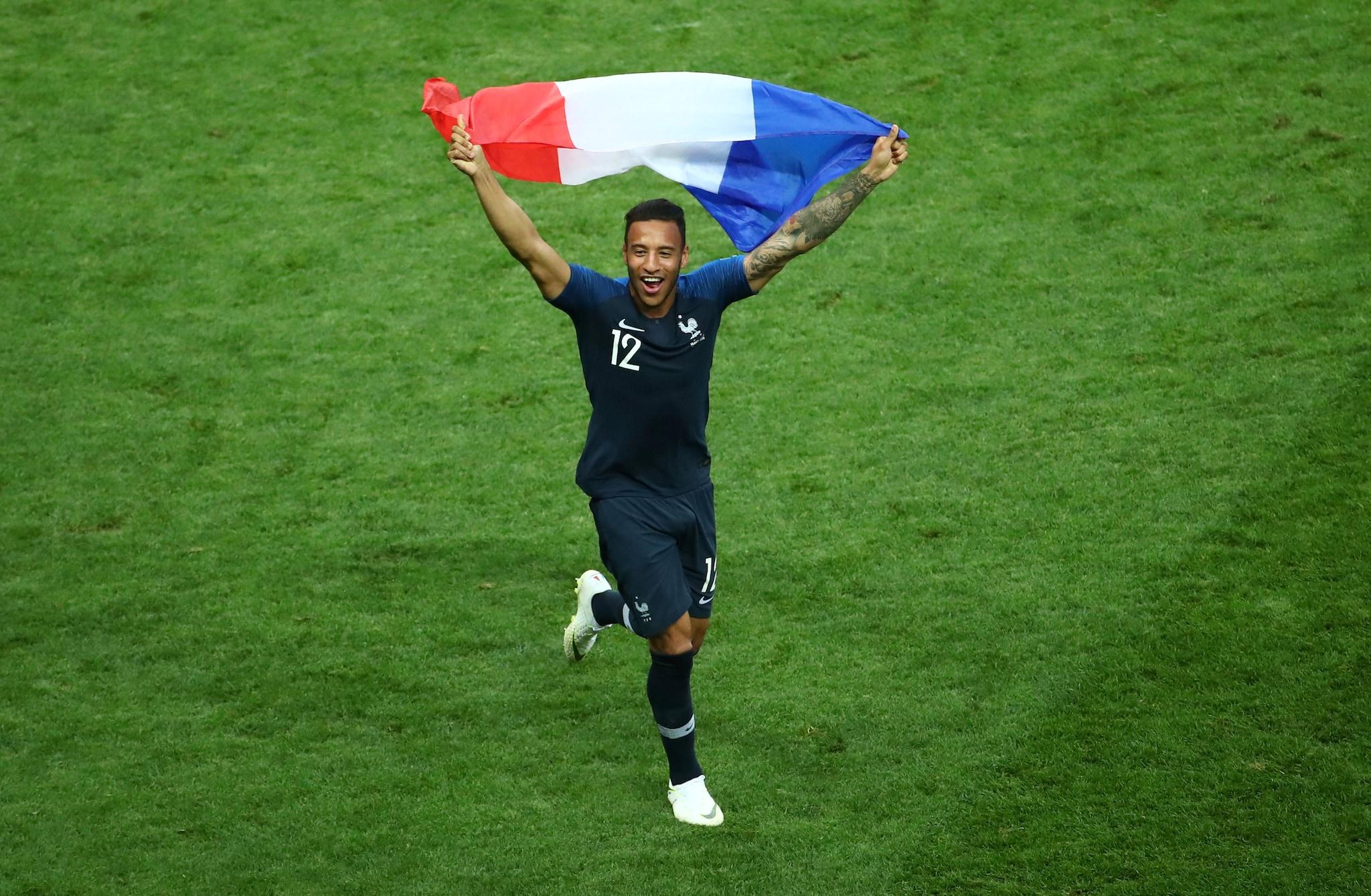 Soccer Football - World Cup - Final - France v Croatia - Luzhniki Stadium, Moscow, Russia - July 15, 2018 France's Corentin Tolisso celebrates winning the World Cup REUTERS/Michael Dalder