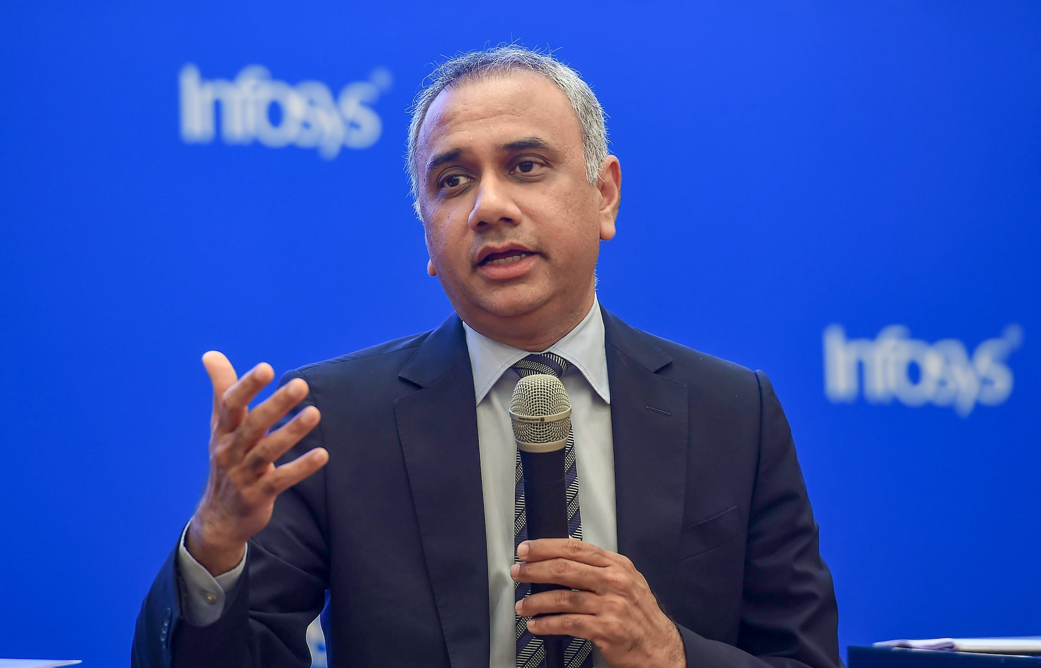 Salil Parekh, Infosys CEO, took home a pay package of Rs 24.67 crore in FY19. He received Rs 6.07 crore in fixed salary, Rs 10.96 crore in bonus, incentives and variable pay and Rs 7.64 crore in perquisites on account of exercise of 1,03,604 restricted stock units (RSUs) during the FY. (Image: PTI)