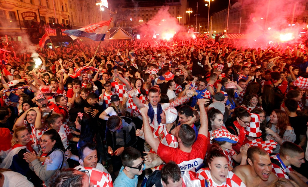 Croatian fans celebrate at the end of the semifinal match between Croatia and England, in Zagreb, Croatia, Wednesday, July 11, 2018. Source-AP