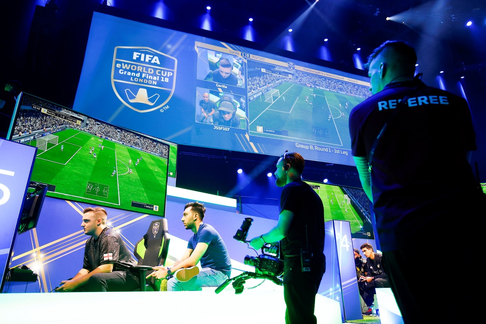 Professional Playstation player Gorilla, real name Spencer Ealing, reacts while playing in the group stages of the FIFA eWorld Grand Final at the O2 Arena in London, Britain August 2, 2018. REUTERS/Henry Nicholls