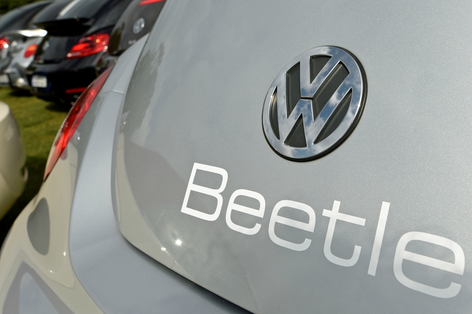 The logo of a Volkswagen Beetle car is seen at the so called