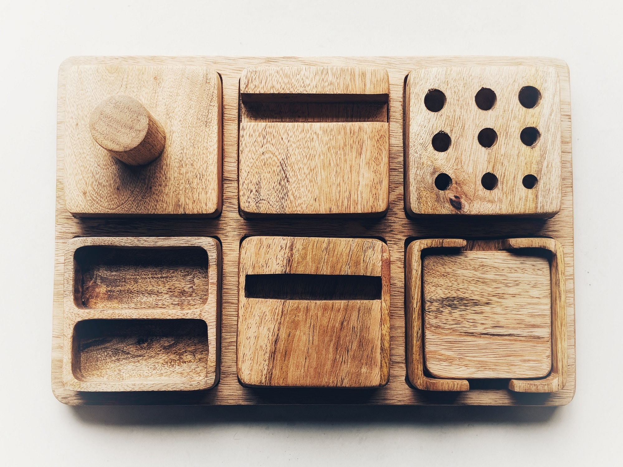 Functional in 6 ways, Daraj is made from reused and partly reclaimed wood.