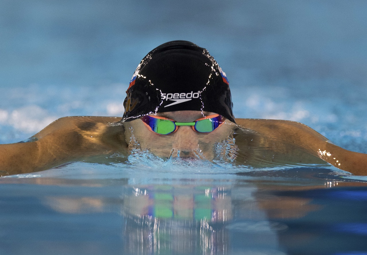 Matija Moze of Slovakia competes in the Swimming Men's 200m breaststroke heat at the Natatorium in Youth Olympic Park during the Youth Olympic Games in Buenos Aires, Argentina, Wednesday, Oct. 10, 2018. (Simon Bruty/OIS/IOC via AP)