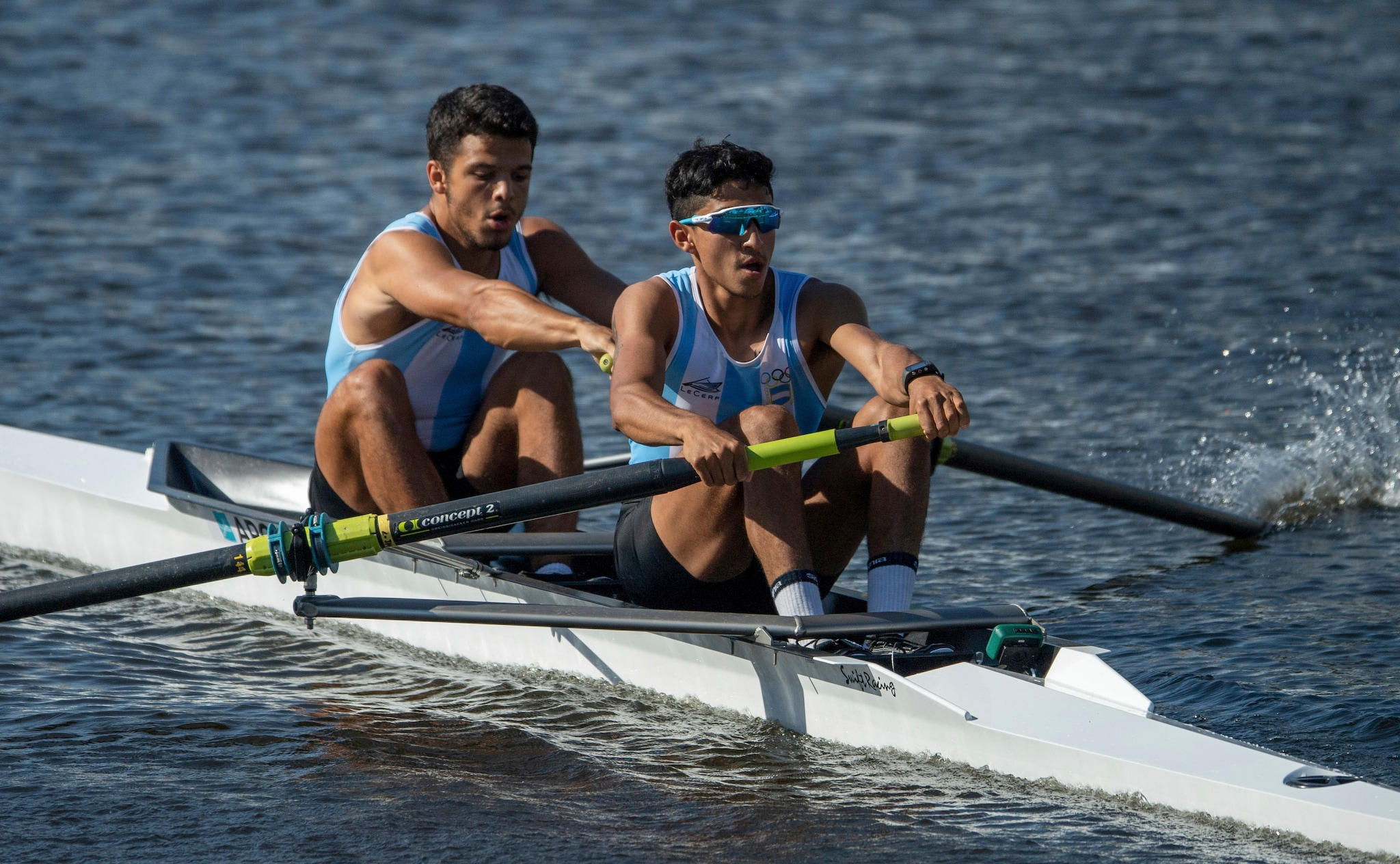 Tomas Herrera and Felipe Modarelli from Argentina row in the men's pairs at The Diques Puerto Madero, during the Youth Olympic Games in Buenos Aires, Argentina, Wednesday, Oct. 10, 2018. (Joel Marklund/OIS/IOC via AP)