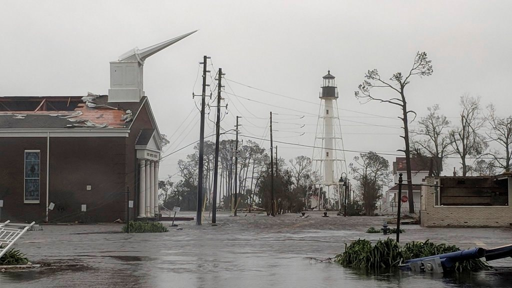 Hurricane Michael formed off the coast of Cuba carrying major Category 4 landfall in the Florida Panhandle. Surge in the Big Bend area, along with catastrophic winds at 155 mph. The First Baptist Church of Port St Joe, Fla., was significantly damaged and water remains on the street near the church on Wednesday, October 10, 2018, after Hurricane Michael made landfall in the Florida Panhandle (Douglas R. Clifford/The Tampa Bay Times via AP)