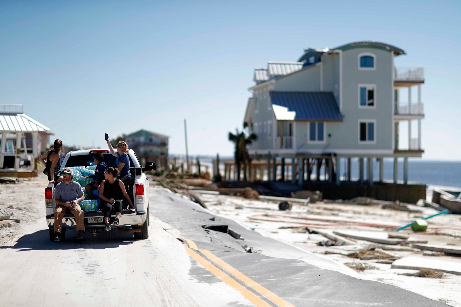 Damaged homes are seen along the water's edge in the aftermath of hurricane Michael. (AP Photo/David Goldman)