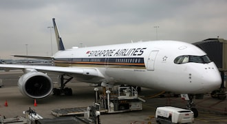 Singapore Airlines Airbus A350-900 airplane at Amsterdam Airport Schiphol in Amsterdam, Netherlands. (Photo by Creative Touch Imaging Ltd./NurPhoto via Getty Images)