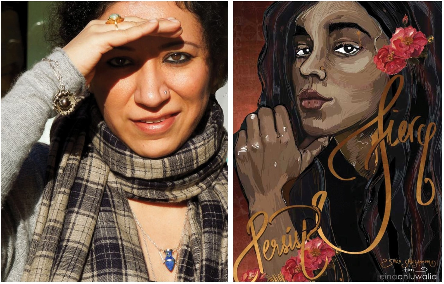 """L-R: Eina on holiday in Nice, France; her new series of wearable reminders – with a cover designed by visual artist Shilo Shiv Suleman – tells women to be fierce and """"stop putting up with bullshit"""""""