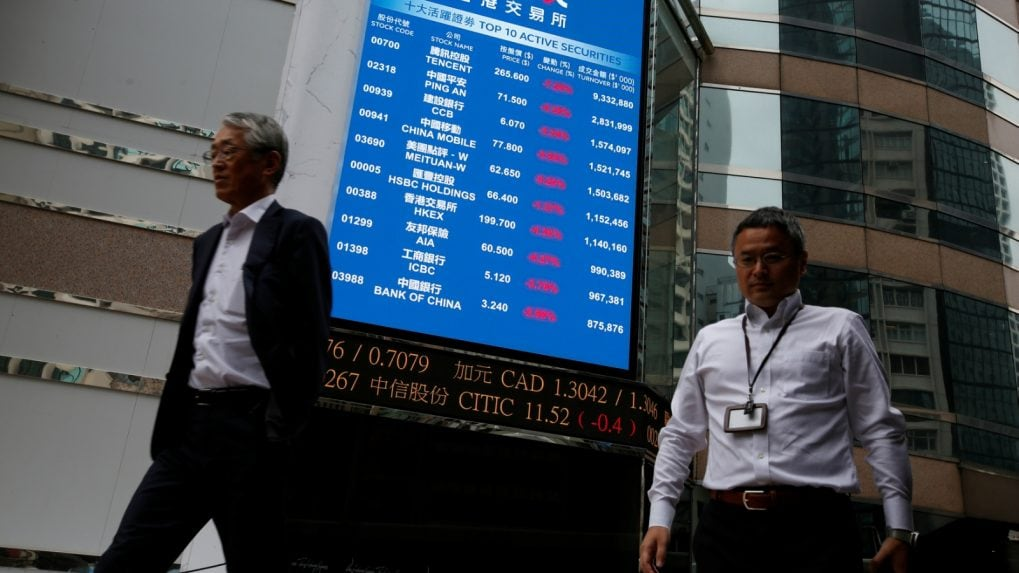 Hong Kong leads Asian stocks lower, oil near five-month lows