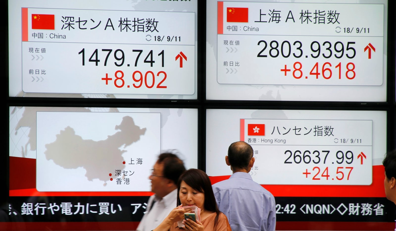 1. Asia: MSCI's broadest index of Asia-Pacific shares outside Japan inched up 0.50 percent. The Nikkei in Japan slipped 0.52 percent, South Korea's KOSPI fell 0.11 percent. Australian stocks added 0.15 percent. (Image: Reuters)