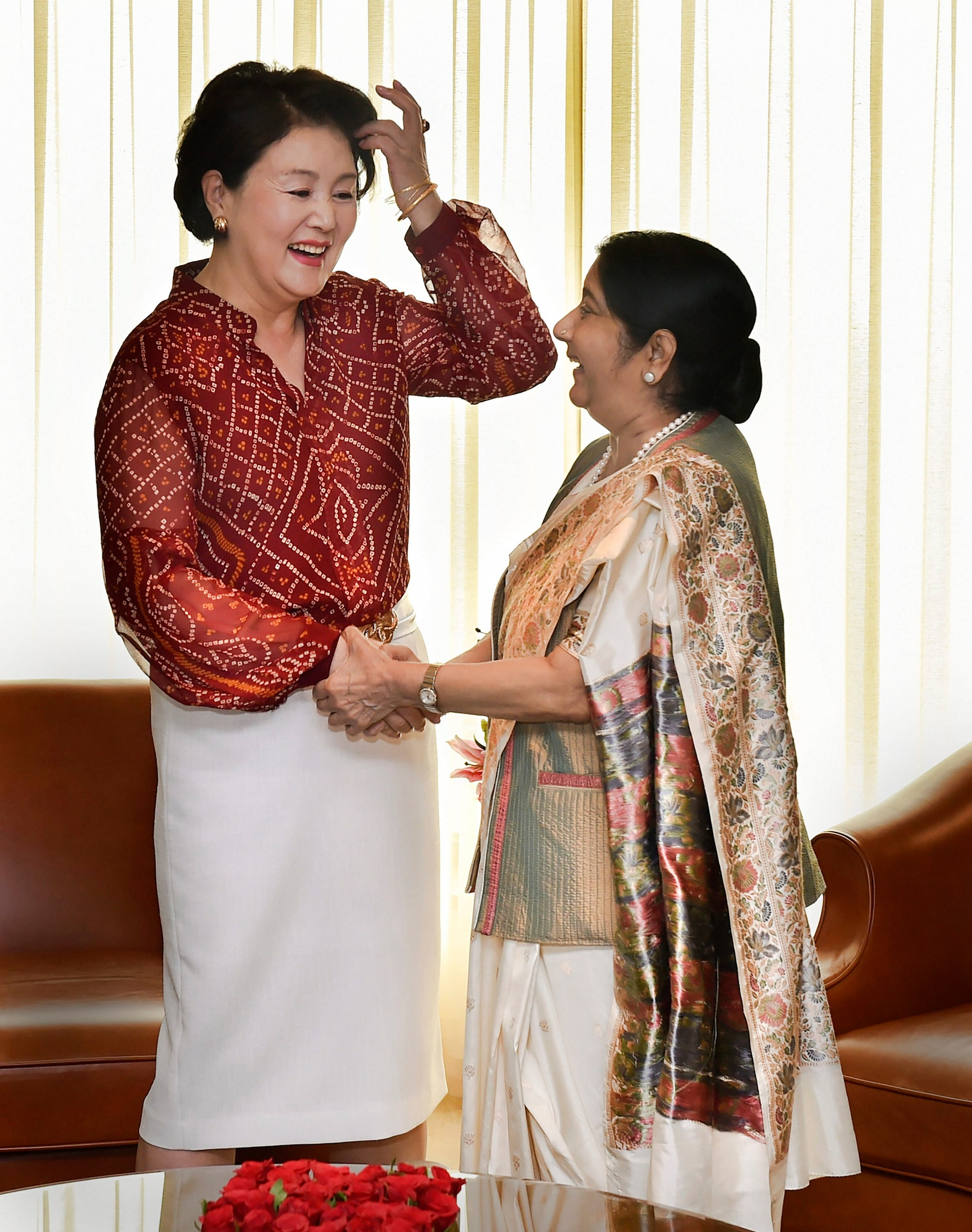 External Affairs Minister Sushma Swaraj with South Korean First Lady Kim Jung-sook ahead of a meeting, in New Delhi, Monday, Nov 5, 2018. (PTI Photo/Manvender Vashist)