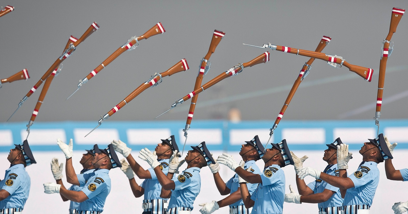 Indian Air force personnel perform a drill during the President's Standard and Colour Presentation to the IAF Number 118 helicopter unit and air defense college, at Air Force Station in Gauhati. (AP Photo/Anupam Nath, File)