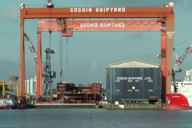 Cochin Shipyard reported a 40.3 percent rise in its consolidated net profit to Rs 206.33 crore for the quarter ended in September, while its consolidated revenue rose 22.8 percent to Rs 1,050.8 crore YoY. The board of directors declared an interim dividend of Rs 1.63 per equity share of Rs 10 each for the financial year 2019-20. (Image: Company)