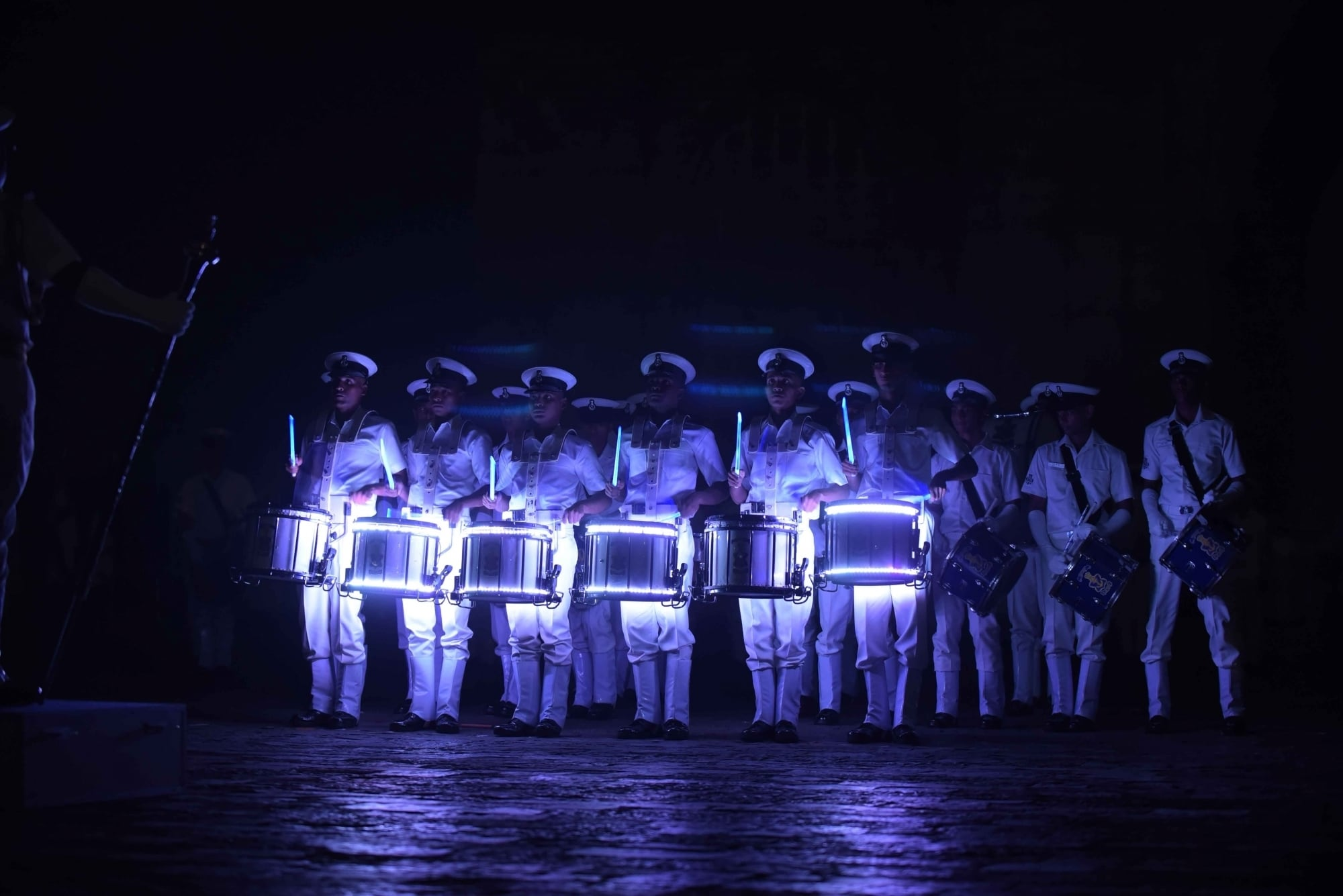 Navy personnel rehearse for the Beating Retreat ceremony ahead of Navy Day at The  Gateway of India in Mumbai on December 3, 2018. (Photo: IANS)