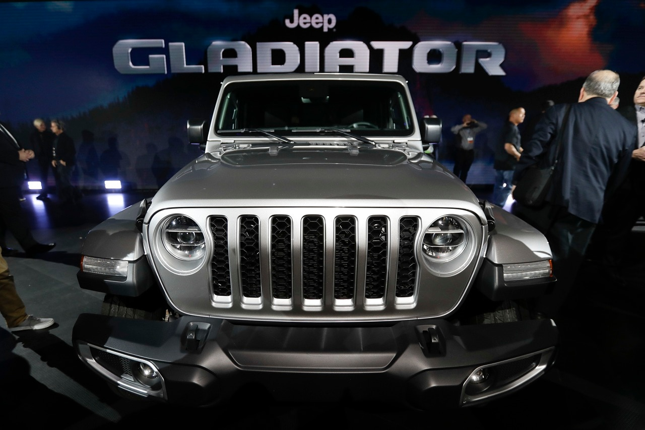 A 2020 Jeep Gladiator is displayed during the Los Angeles Auto Show on Wednesday, Nov. 28, 2018, in Los Angeles. (AP Photo/Chris Carlson)