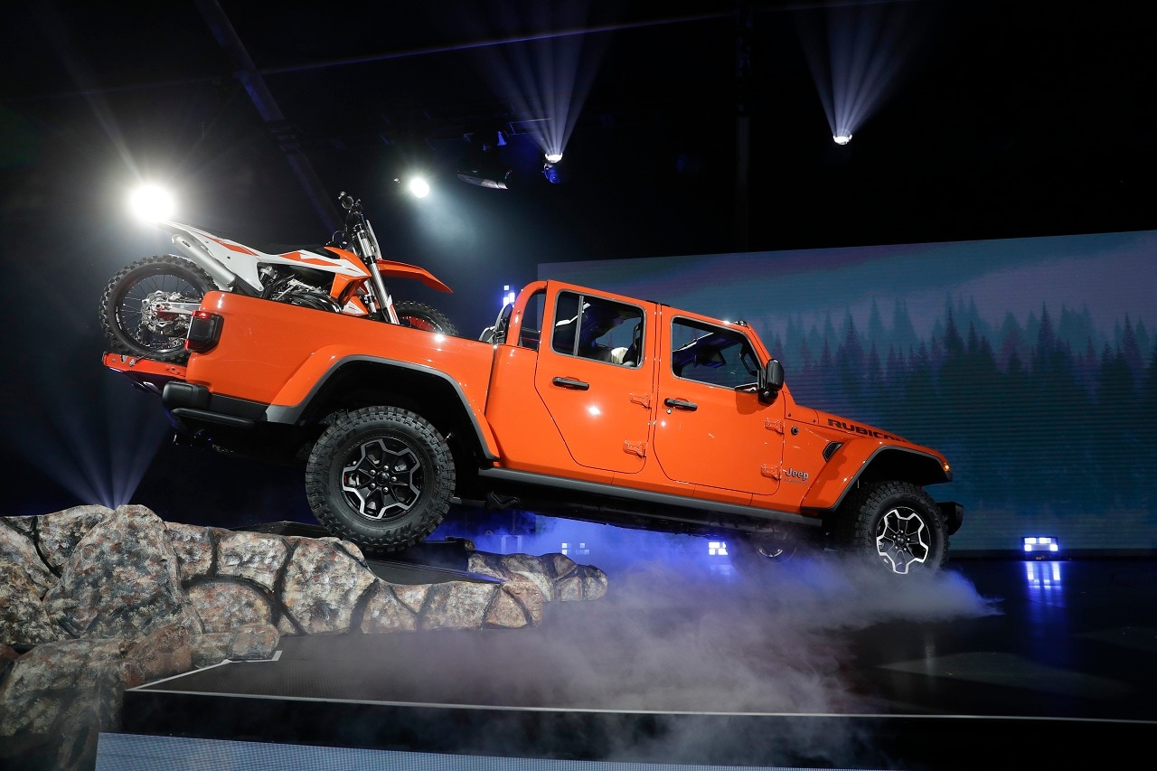 A 2020 Jeep Gladiator Rubicon is shown during the Los Angeles Auto Show on Wednesday, Nov. 28, 2018, in Los Angeles. (AP Photo/Chris Carlson)