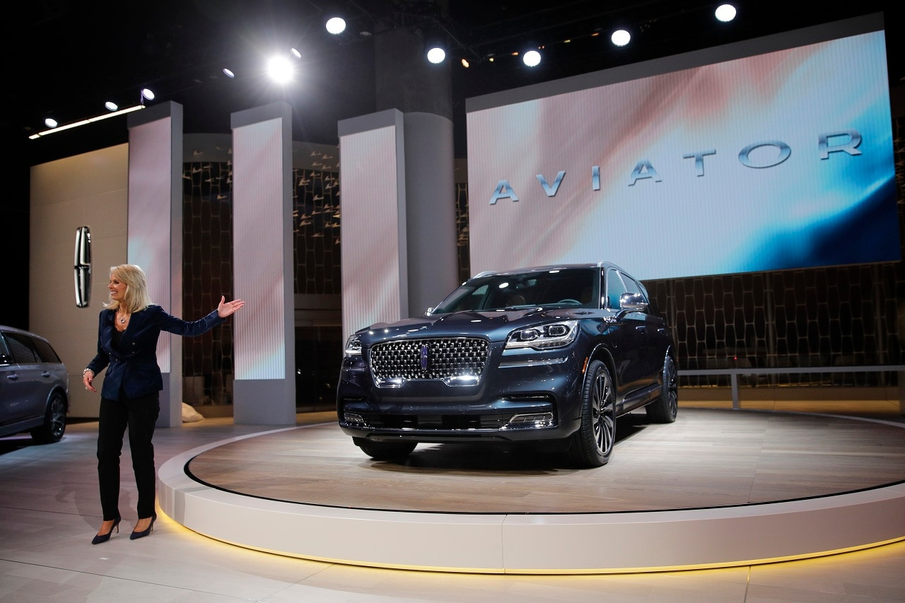 Joy Falotico, president of Lincoln Motor Company, introduces the 2020 Lincoln Aviator at the Los Angeles Auto Show Wednesday, Nov. 28, 2018, in Los Angeles. (AP Photo/Jae C. Hong)