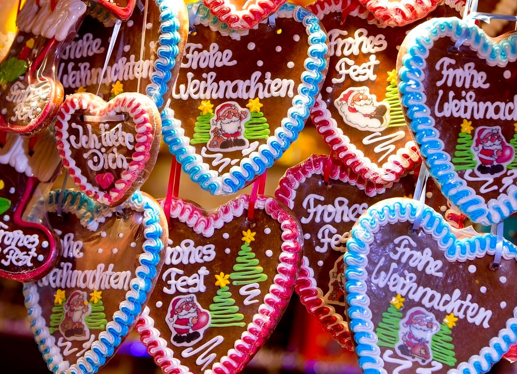 Gingerbread hearts are seen at the traditional Christmas market in Heidelberg, Germany, Tuesday. December 4, 2018. (AP Photo/Michael Probst)