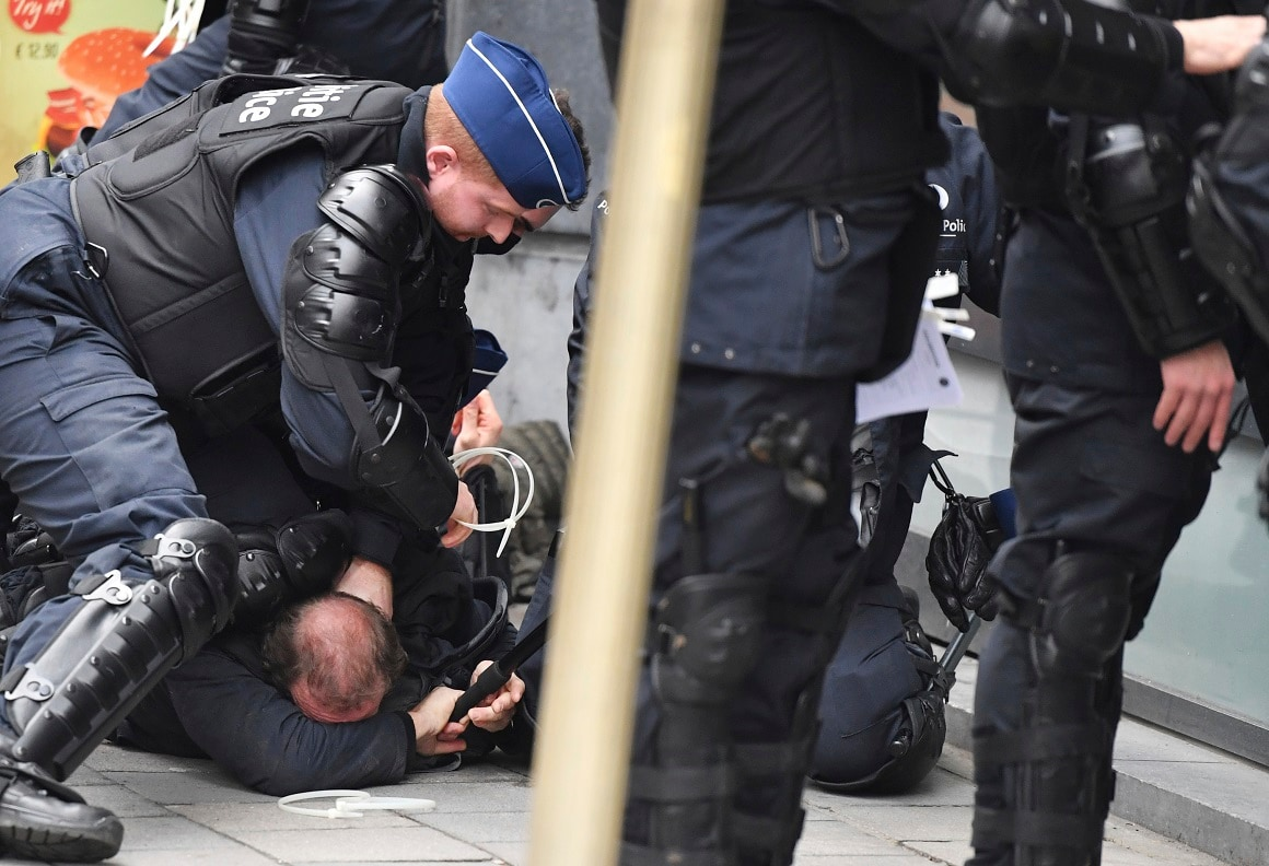 Hundreds of police officers are being mobilized in Brussels, where yellow vest protesters last week clashed with police and torched two police vehicles. More than 70 people were detained. (AP Photo/Geert Vanden Wijngaert)