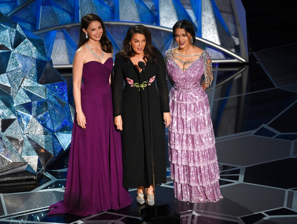 In this March 4, 2018 file photo, Harvey Weinstein accusers, Ashley Judd, from left, Annabella Sciorra and Salma Hayek speak at the Oscars in Los Angeles. Photo Credit-AP