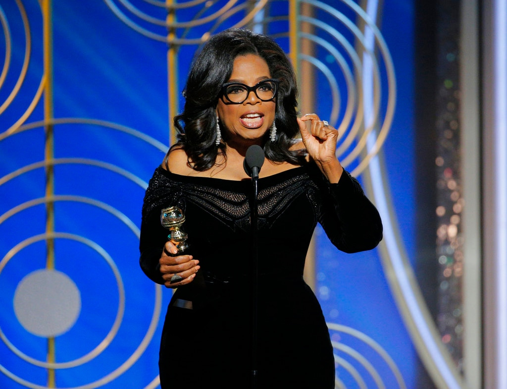 This Jan. 7, 2018 image released by NBC shows Oprah Winfrey accepting the Cecil B. DeMille Award at the 75th Annual Golden Globe Awards in Beverly Hills, Calif. Winfrey's rousing call for social justice in the name of the MeToo movement drew wild cheers in the ballroom at the Golden Globes Awards in January and reverberated across the land. Photo Credit-AP