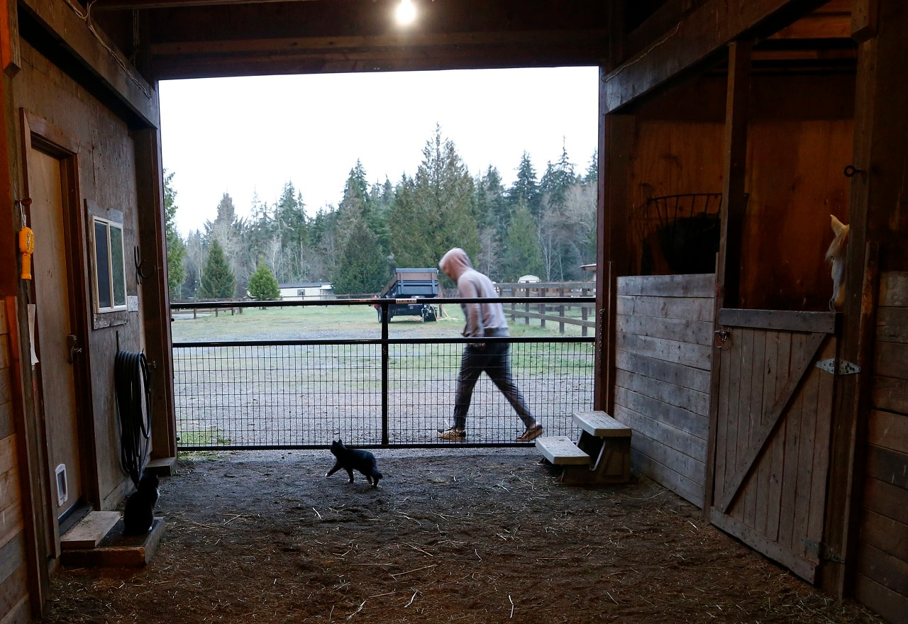 On Monday, Dec. 10, 2018, photo, Robel, an 18-year-old tech addict from California, leaves a barn after helping feed animals at the Rise Up Ranch outside rural Carnation, Wash. (AP Photo/Martha Irvine)