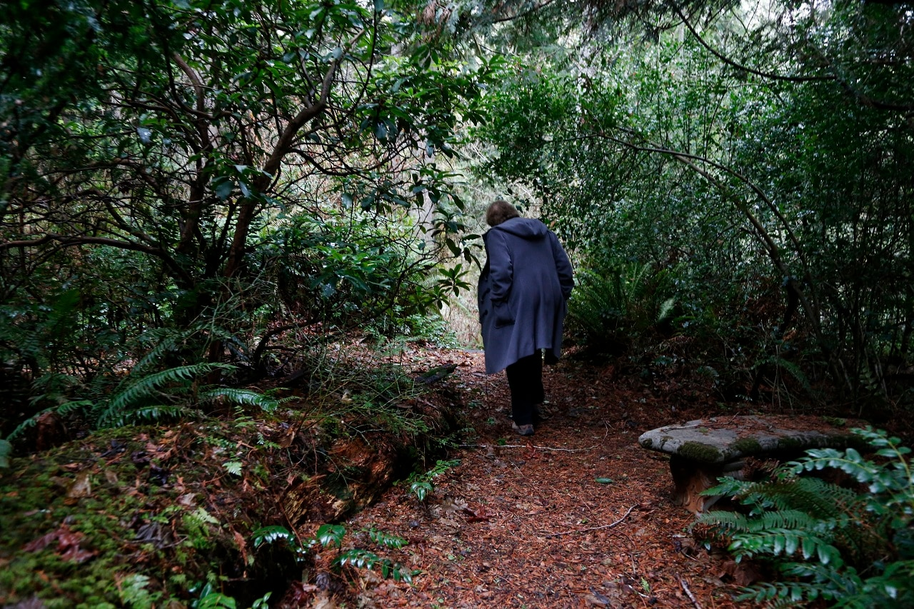 On Monday, Dec. 10, 2018, photo, Psychologist Hilarie Cash walks on a forest path at a rehab center for adolescents in a rural area outside Redmond, Wash. The complex is part of reSTART Life, a residential program for adolescents and adults who have serious issues with excessive tech use, including video games. Disconnecting from tech and getting outside is part of the rehabilitation process. The organization, which began about a decade ago, also is adding outpatient services due to high demand. Cash is chief clinical officer and a co-founder at reSTART. (AP Photo/Martha Irvine)