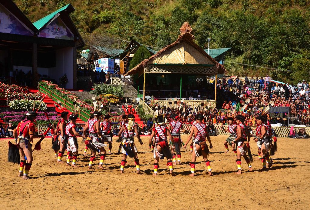 Naga tribesmen from Rengma tribe perform a dance during the Hornbill Festival at the Naga Heritage Village Kisama, some 12 Kms away from Kohima, the capital city of Nagaland. (Photo by Caisii Mao/NurPhoto via Getty Images)