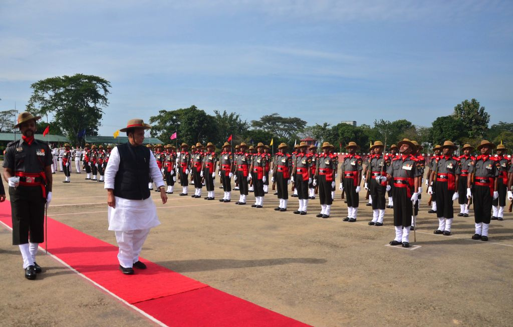 Home Minister Rajnath Singh, inspects a Guard of Honour at Assam Riffles Training Centre High School at Sukhovi, outskirt of Dimapur, Nagaland on Friday, 08 December 2017. (Photo by Caisii Mao/NurPhoto via Getty Images)