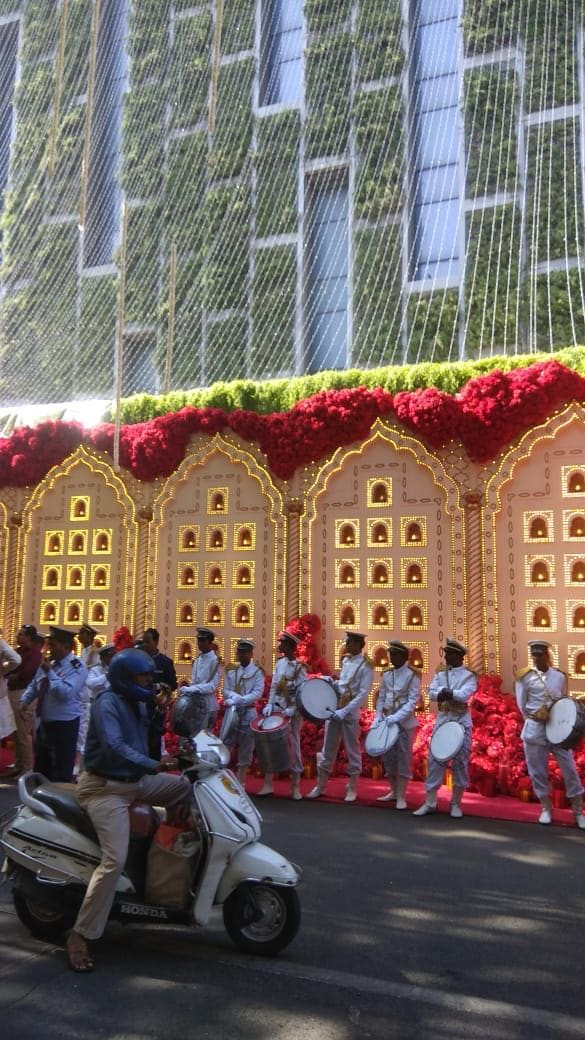 Artificial flower bouquets are used to decorate Antilia, the house of Mukesh Ambani.