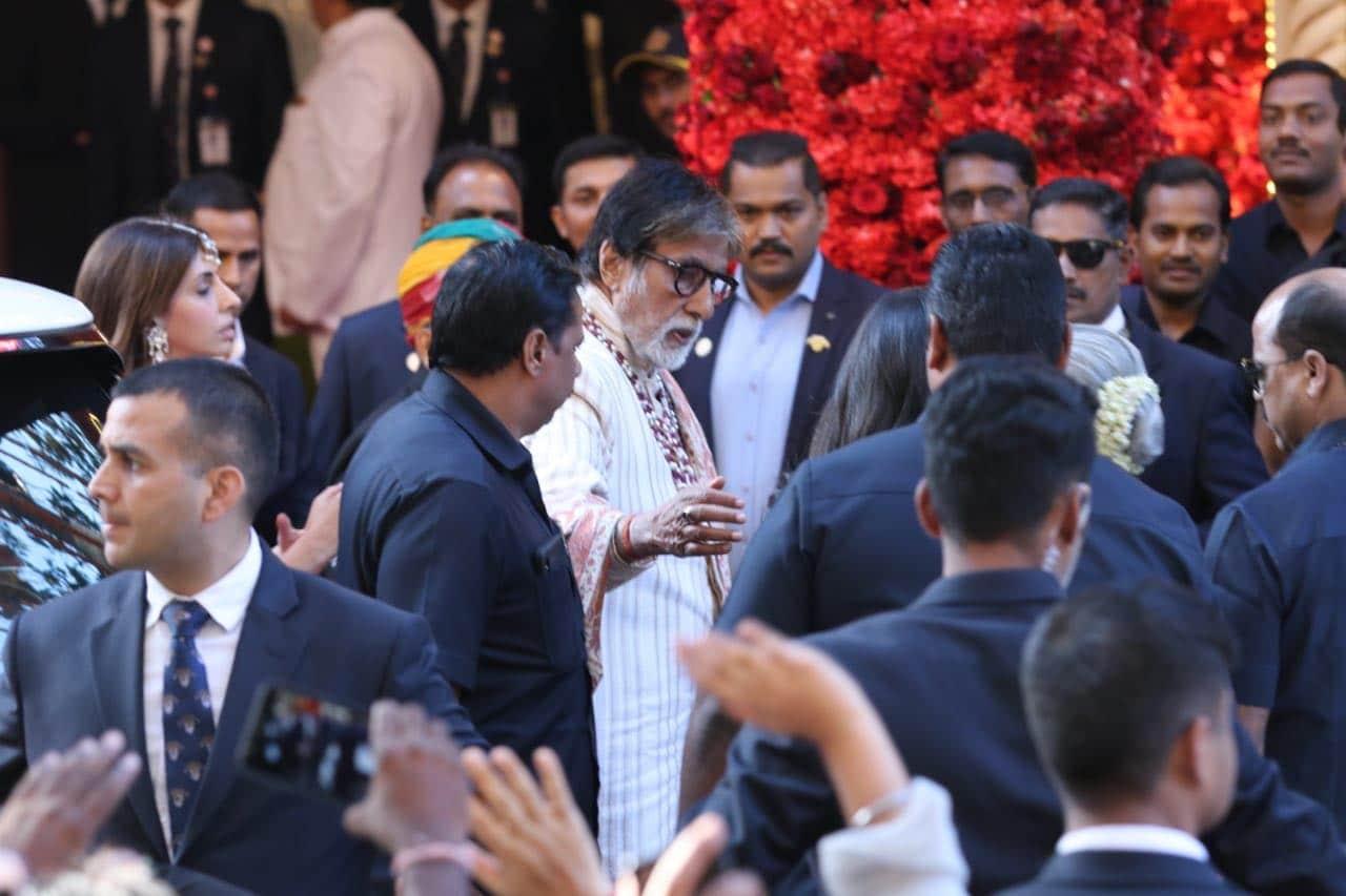 Bollywood megastar Amitabh Bachchan arrives for the wedding in Mumbai.