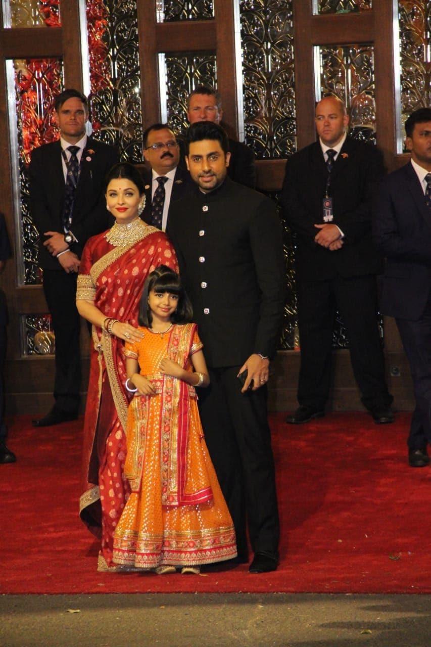 Abhishek Bachchan and Aishwarya Rai Bachchan along with their daughter Aradhya Bachchan arrive for the wedding ceremony of Anand Piramal and Isha Ambani.