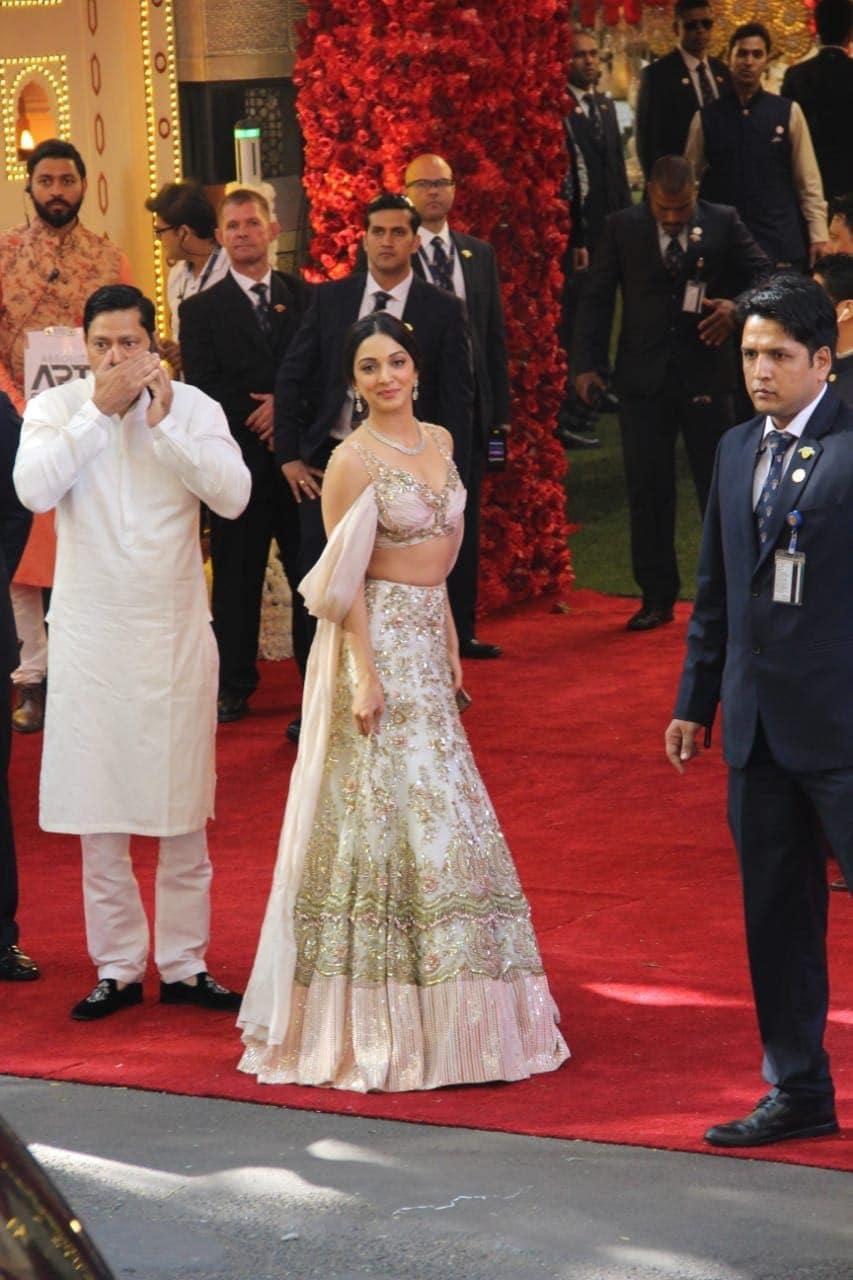Bollywood actress Kiara Advani arrives for the wedding ceremony in Mumbai.