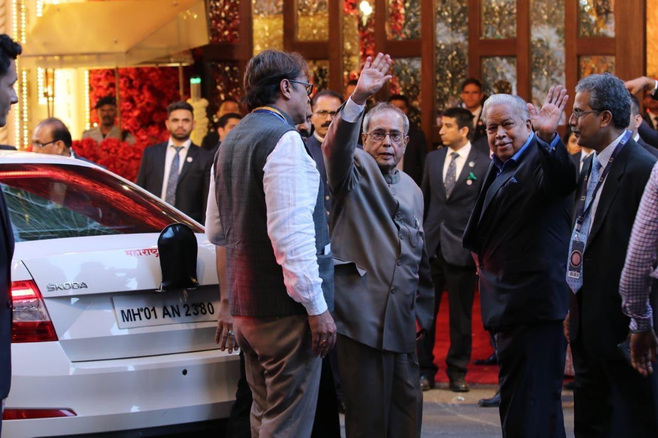 Former president of India Pranab Mukherjee arrives for the wedding ceremony of Mukesh Ambani's daughter Isha Ambani in Mumbai.
