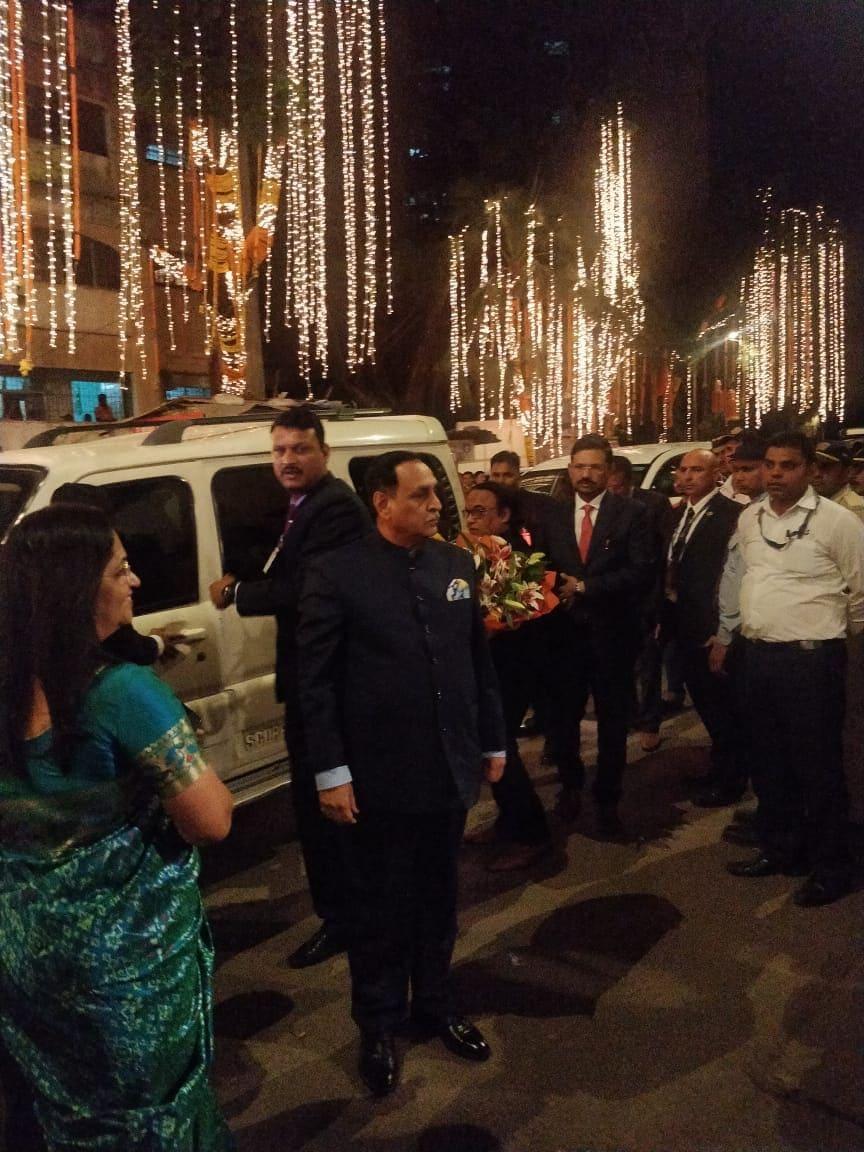 Vijay Rupani, chief minister of Gujarat, arrives for the wedding of Anand Piramal and Isha Ambani.