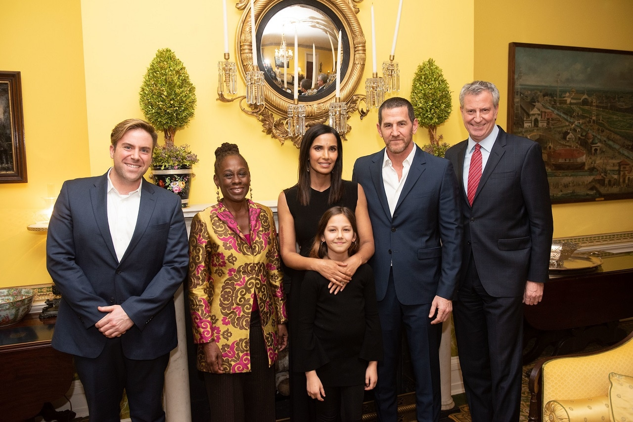 Mayor Bill de Blasio and First Lady Chirlane McCray with Padma Lakshmi, her partner Adam Dell and daughter Krishna Lakshmi-Dell.  Padma's chief of staff Anthony Jackson is on the  extreme left.