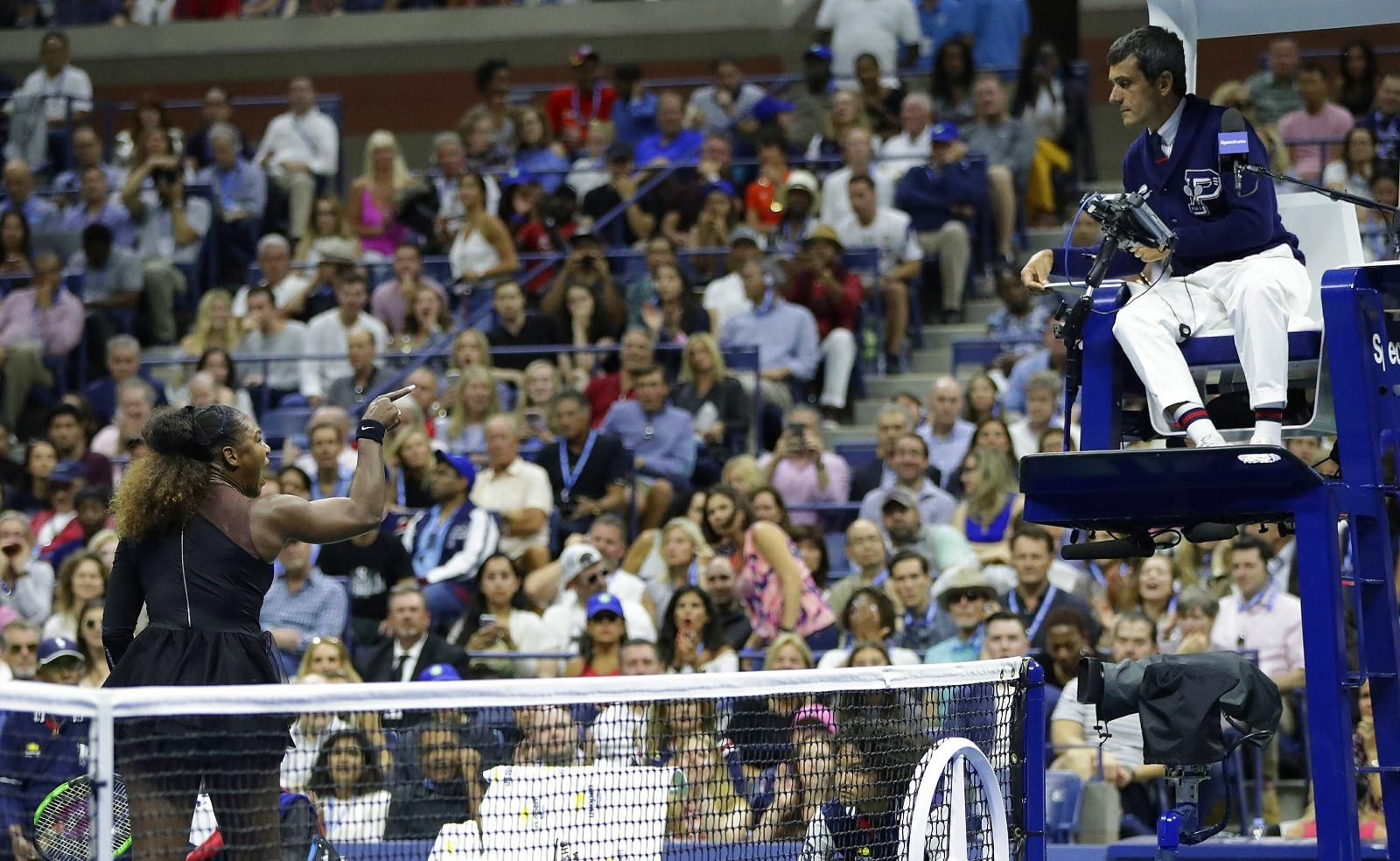 Serena Williams argues with chair umpire Carlos Ramos during a match against Naomi Osaka, of Japan, in the women's final of the US Open tennis tournament on September 8, 2018, in New York. (AP Photo/Julio Cortez)