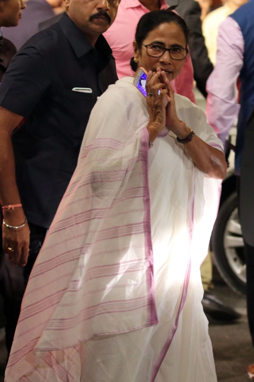 Chief Minister of West Bengal Mamata Banerjee arrives for the wedding.