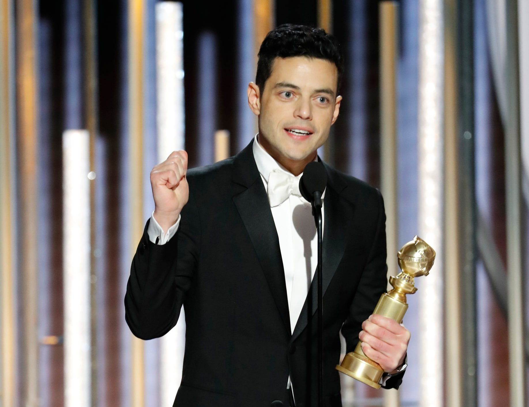 Rami Malek, winner of Best Actor - Motion Picture, Drama, accepts his award  at the 76th Golden Globe Awards in Beverly Hills, California, US, January 6, 2019. Paul Drinkwater/NBC Universal/Handout via REUTERS