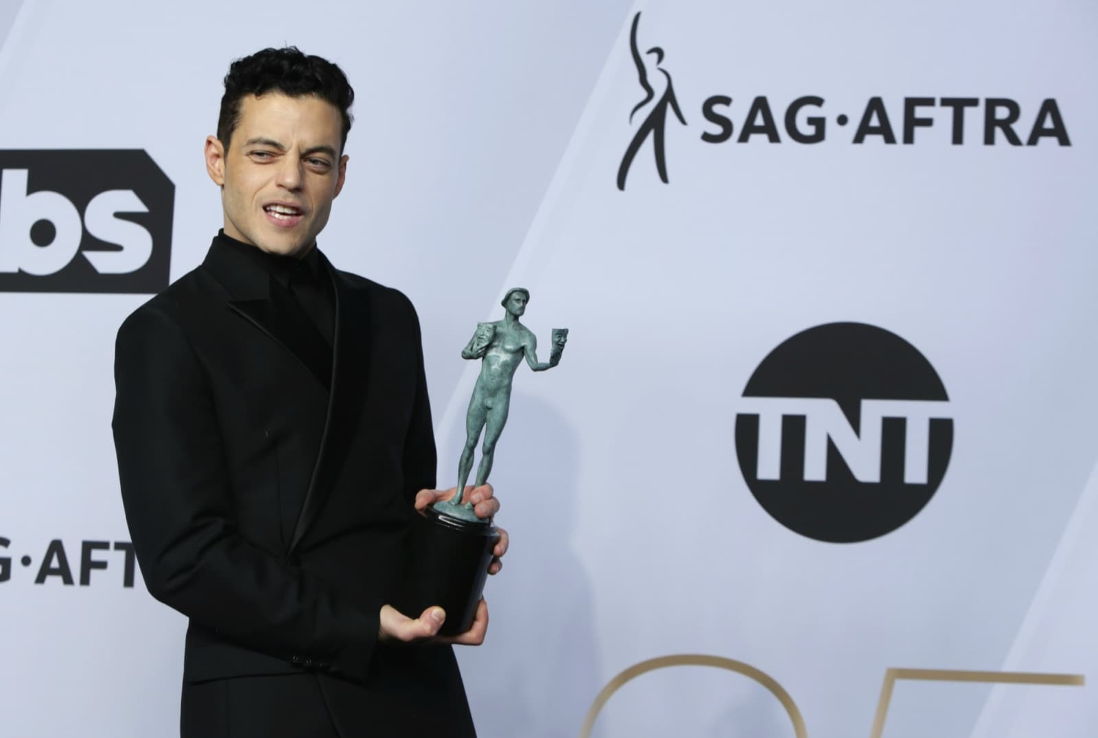25th Screen Actors Guild Awards – Photo Room – Los Angeles, California, US, January 27, 2019 - Rami Malek poses backstage with his Outstanding Performance by a Male Actor in a Leading Role award for